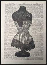 Vintage Corsé Diccionario Página Decoración De Pared Imagen Estampado Moda
