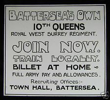 Glass Magic Lantern Slide BATTERSEAS 10TH QUEENS RECRUITMENT ADVERT C1950