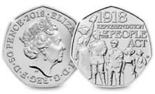 50p Coin 2018 - Representation Of The People Act 1918 Coin - Circulated but good