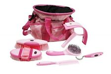 PINK 6 Piece Soft Grip Horse Grooming Kit w/ Nylon Carrying Bag! NEW HORSE TACK!
