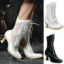 Women Victorian Lace Boots Steampunk High Heels Shoes Lace Up Cosplay Shoes Size