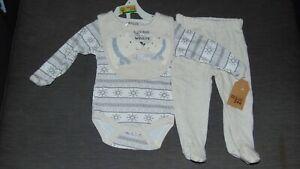 Chick Pea 100%Cotton L/S Bodysuit, Leggings & Bib Set 0-3m 62cm Grey Mix BNWT
