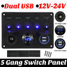 5 Gang ON-OFF Toggle Switch Control Panel 2 USB Charger 12V for Car Marine Boat