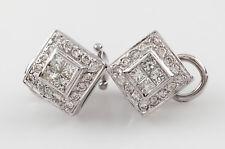 18k White Gold Diamond Plaque Earrings w/ Omega Backs TDW = 1.80 ct