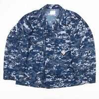 Vintage US NAVY Blue Digital Camo Printed Shirt Size Men's Medium