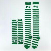 St. Patrick's Day Long Socks & Forearm Bands w/ Thumbholes Full Set New