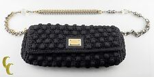 Dolce & Gabbana Small Crochet Miss Charles Clutch Shoulder Bag Ornate Strap