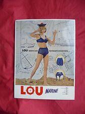 ancienne publicité sous vétements feminins LOU , pub carton femme slip culotte