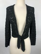 Limited Medium Black Open Knit Sweater Shrug Crop Tie Front Long Sleeve
