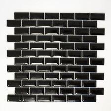 Mosaik Fliese Keramik schwarz Brick Bond Diamond uni schwarz WB26-0302
