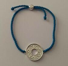 Hallmarked Solid Silver Sun Flower Design Blue Cord Bracelet   Cred