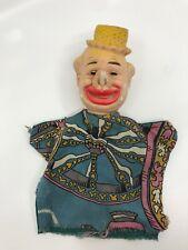 """Vintage Hand Glove Puppet Clown Straw Hat Big Nose 9""""  [06]"""