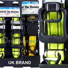2 x 25mm 3.5m or 2x32mm 5m Luggage Trailers Cargo Ratchet Tie Downs Straps Set