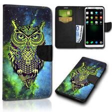 Book Flip Handy Tasche Case Hülle Etui Schale Schutz NBT139 Eule grün blau