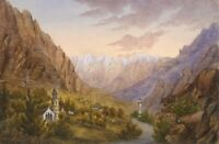 Alpine View with Church Towers – Original 19th-century watercolour painting