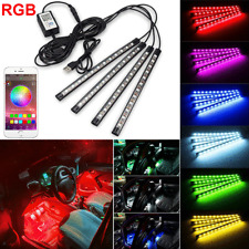 USB 4X 48 LED Car Interior Decor Atmosphere Neon Light Bluetooth+APP Control RGB
