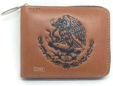 New Mexican flag logo Pattern Zipper bifold Men's Wallet (brwon Color)
