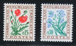 France 1964 MNH Mi 98-99 Due stamps Flowers Corn poppy & Forget-me-not **