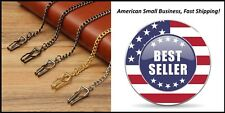 """Pocket Watch Chain FOB - 5 Color Choices 14"""" Silver Gold Bronze Black Copper"""