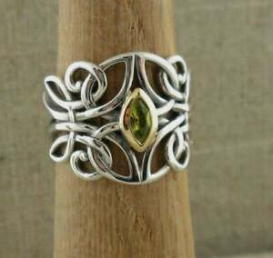 Sterling Silver & 10K Celtic Guardian Angel Ring with Peridot KEITH JACK size 7