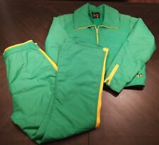 SportsCaster Vintage Insulated Snow Suit Zip up Green Yellow Size XL