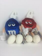 """M&M Bean Bag Plush (Blue 8"""" + Red 7"""") 2000 Commonwealth Officially Licensed NWTs"""