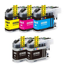 5PK LC201 LC203 XL Black & Color Ink Set For Brother MFC J880DW J460DW & More