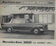 1964 Mercedes 200SE LWB Auto Original Autocar magazine Road test