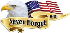 "2 - 4"" x 8"" American Flag Bald Eagle Patriotic Never Forget 911 Decals Stickers"