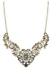 Antique Bronze Filigree Collar Fashion Statement Necklace- Bridal