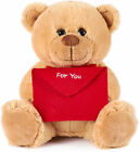 BRUBAKER Teddy Plush Bear with Red Envelope - For You - 9.84 Inches - Plush
