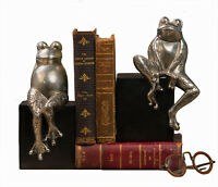 BOOKENDS - FANCIFUL FROG BOOKENDS - FROG BOOK ENDS - ANTIQUE SILVER FINISH