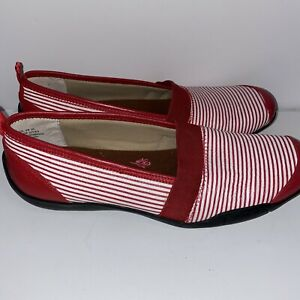Ros Hommerson Womens Slip On Shoes Carol Red White Leather Stripe Size 9 Narrow