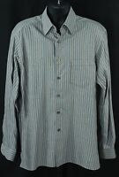 Ermenegildo Zegna Mens L Large Button Front Up Long Sleeve Brown Blue Stripes