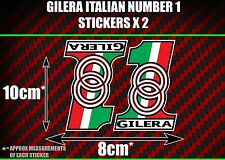 Gilera italian number 1 Stickers x2 poggiali simoncelli rossi dna runner skp smt