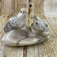 Italy Marble Bird And Babies In Nest Figurine Mom Nestlings