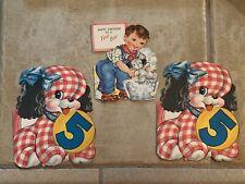 Lot of 3 Vintage Greetings Happy Birthday 5 Year Card Puppies Boy Dog