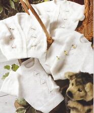 """Baby Cardigans and Jumpers Knitting Pattern Lace Diamond design 3ply 12-22"""" 1027"""