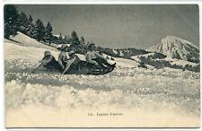 Toboggan Sled Lugeurs d'avenir Winter Sport Switzerland 1910c postcard