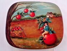 Artist Signed Marilyn Fitzgerald Bent Wood Box Peter Ompir Style Tole Folk Art