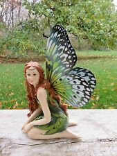 Fairy With Leaf Dress Butterfly Metal Wings Resin Faerie New Figurine 5 In.