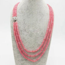Women's 3Rows 2x4mm Natural Pink Jade Faceted Gems Beads Necklace 18-20'' JN1786