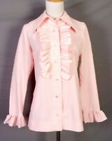 vtg 60s 70s Forest Lane Baby Pink HUGE Collar Ruffled Front Blouse Top Shirt 36