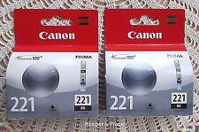 Canon Pixma 221 Black Ink Cartridges Factory Sealed New FREE SHIPPING Set Of 2
