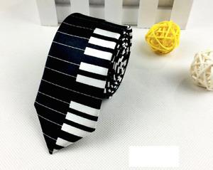 Mens Boys White & Black Piano Keyboard Tie Necktie Slim Skinny Fancy Music Dress