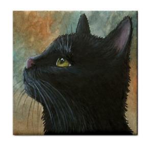 Large Ceramic Tile 6x6 inches Printed in USA black Cat 545 Art L.Dumas