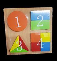 ds Puzzle Gioco 3D in Legno Educativo Bambini Forme Geometriche Numeri dfh