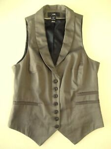 Lovely Ladies waistcoat EUR34 Size 6? H&M Brown Lined Collar V Good cond VR1
