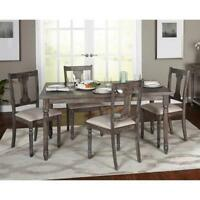 Rustic Dining Table Set 5 Piece Gray Weathered Kitchen Chairs Coastal Farmhouse