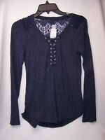 Self Esteem Lace Up Long Sleeves Juniors Small 3-5 Shirt Top New Ribbed Bavy